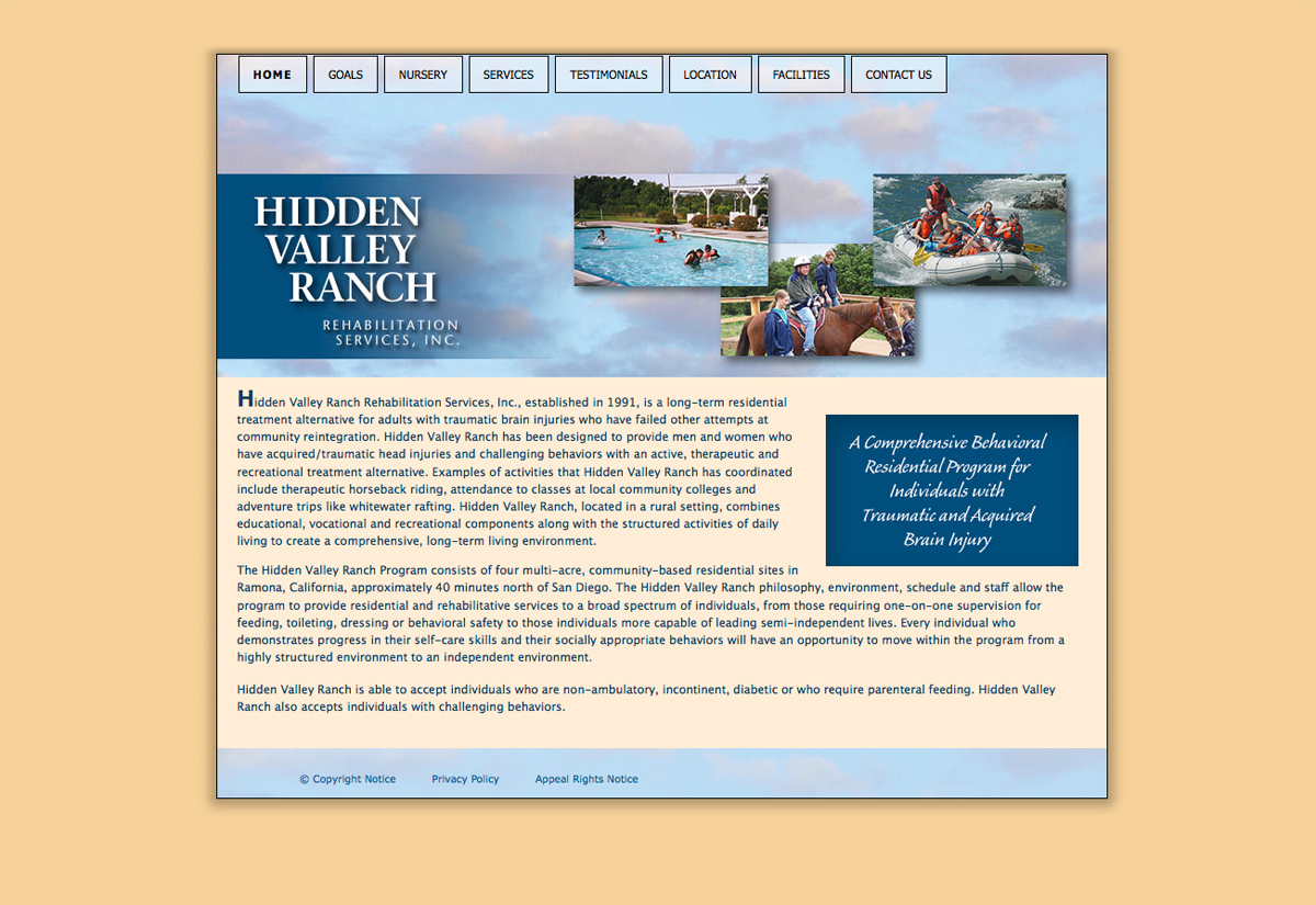 Hidden Valley Ranch RehabilitationServices website
