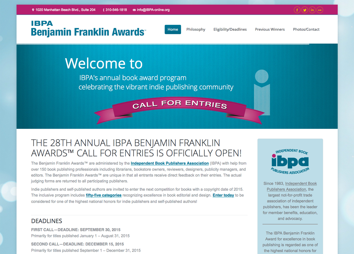 IBPA Benjamin Franklin Awards website