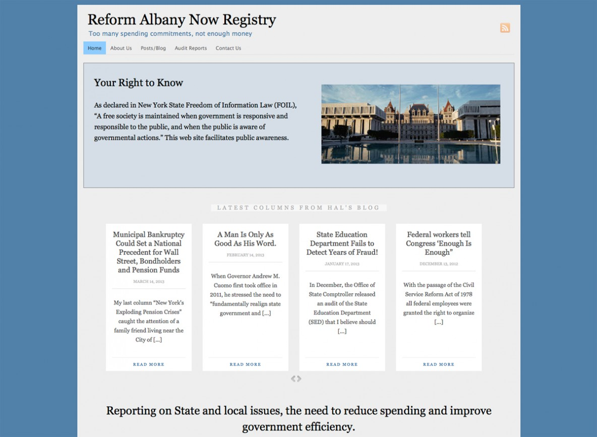 Reform Albany Now Registry website