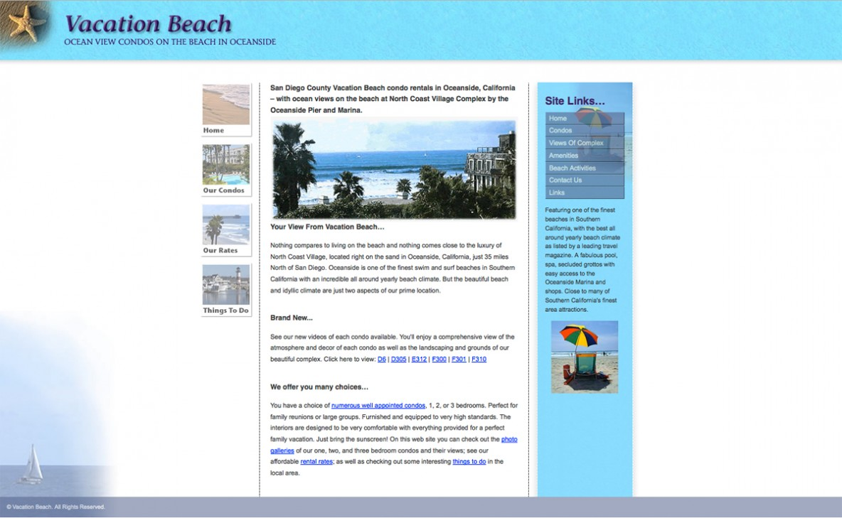 Vacation Beach website
